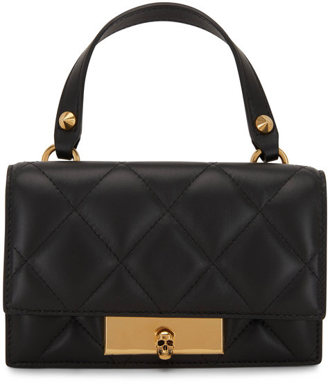 Alexander McQueen Black Quilted Leather Skull Lock Mini Bag