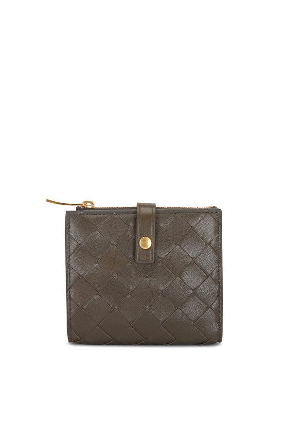 Bottega Veneta Dark Gray Intreciatto Fold-Over Mini Wallet