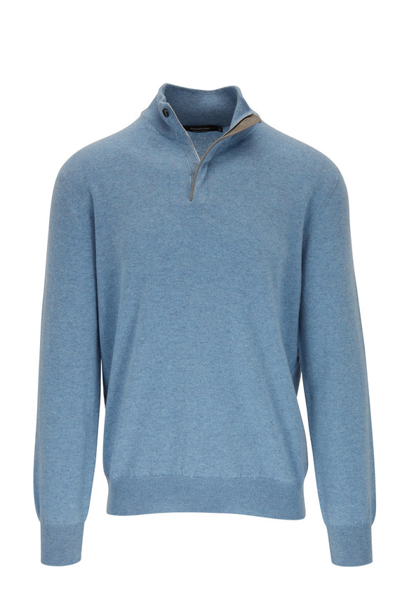 Ermenegildo Zegna Light Blue Cashmere Quarter-Zip Pullover
