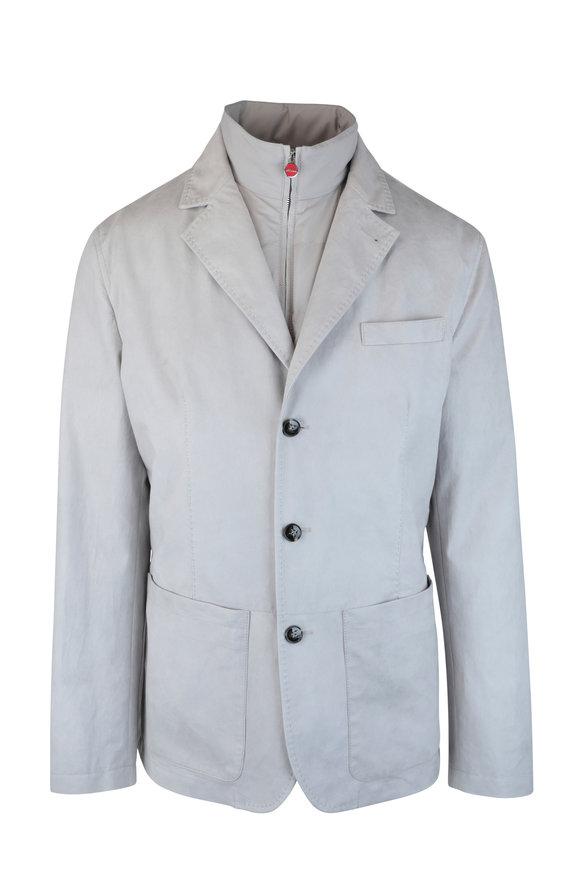 Kiton Ash Suede Convertible Vest & Jacket