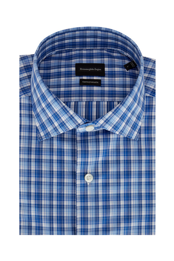 Ermenegildo Zegna Blue Plaid Classic Fit Sport Shirt