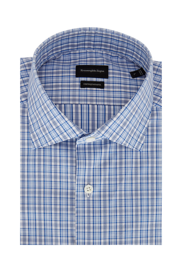 Ermenegildo Zegna Blue Tonal Plaid Classic Fit Sport Shirt