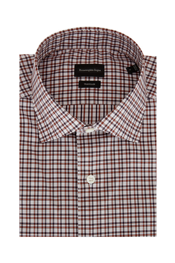 Ermenegildo Zegna Brown Tonal Plaid Classic Fit Sport Shirt