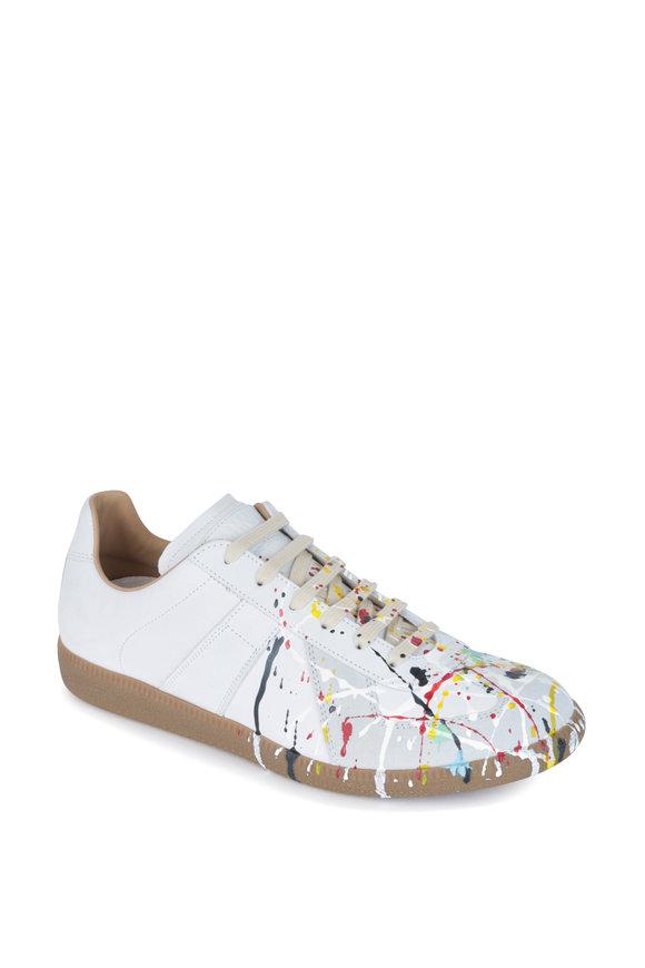 Maison Margiela Replica White Leather Paint Splatter Sneaker