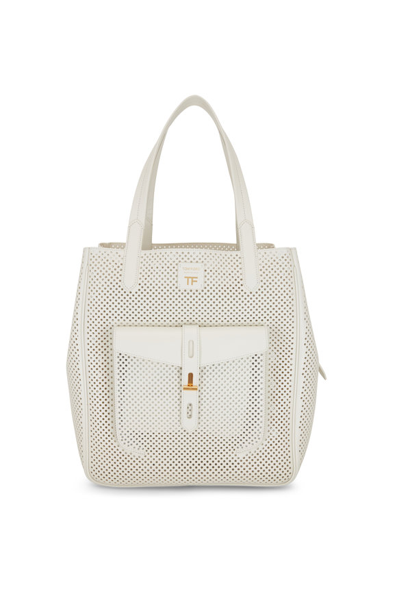 Tom Ford T-Twist Chalk Perforated Leather Medium Tote