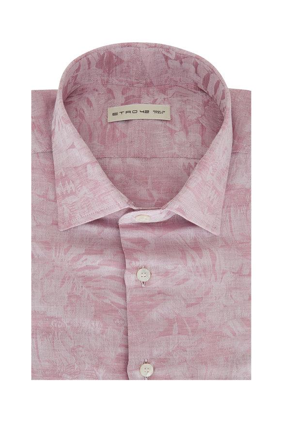Etro Mauve Linen Blend Floral Print Sport Shirt