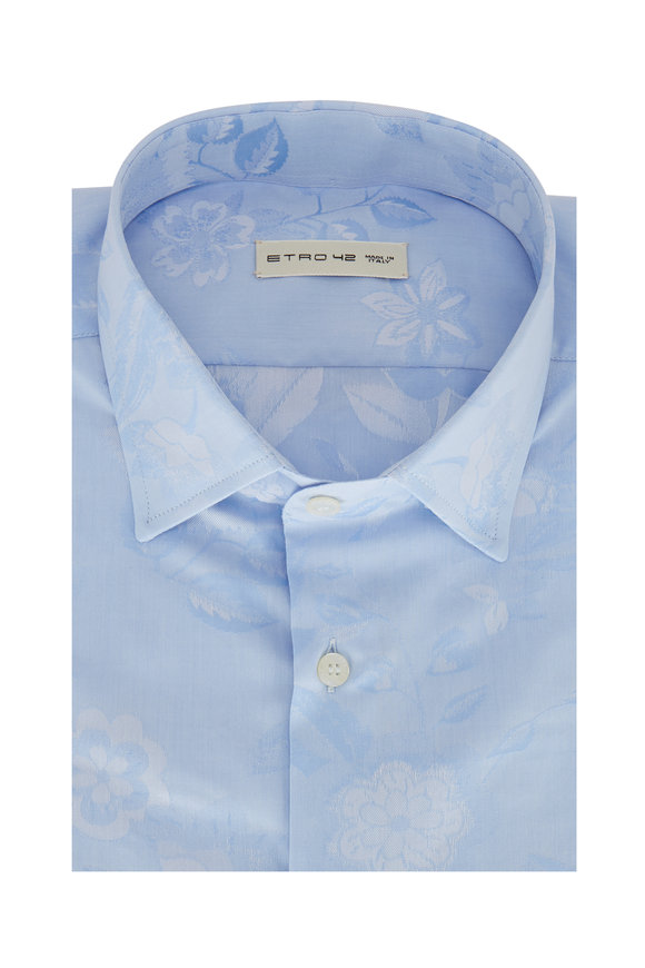 Etro Light Blue Linen Blend Floral Print Sport Shirt