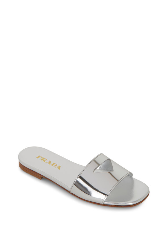 Prada Silver Metallic Leather Cut-Out Logo Flat Slide
