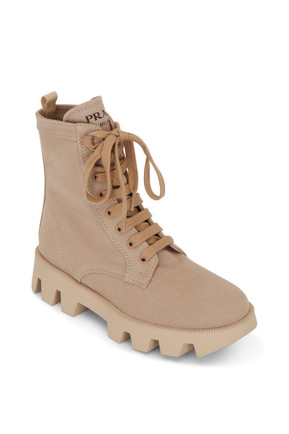 Prada Natural Denim Lace-Up Combat Boot