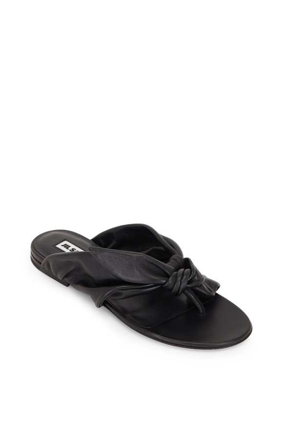 Jil Sander Black Leather Bow-Tie Flat Sandal