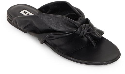 Jil Sander Black Leather Bow-Tie Flat Sandal