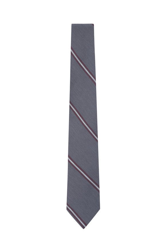 Brunello Cucinelli Gray & Burgundy Striped Linen & Silk Necktie