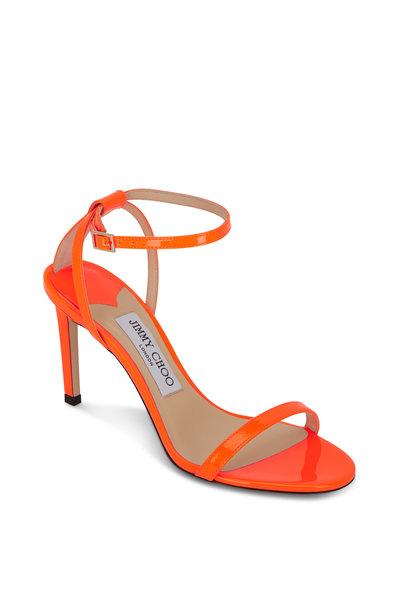 Jimmy Choo - Minny Neon Orange Patent Leather Sandal, 85mm