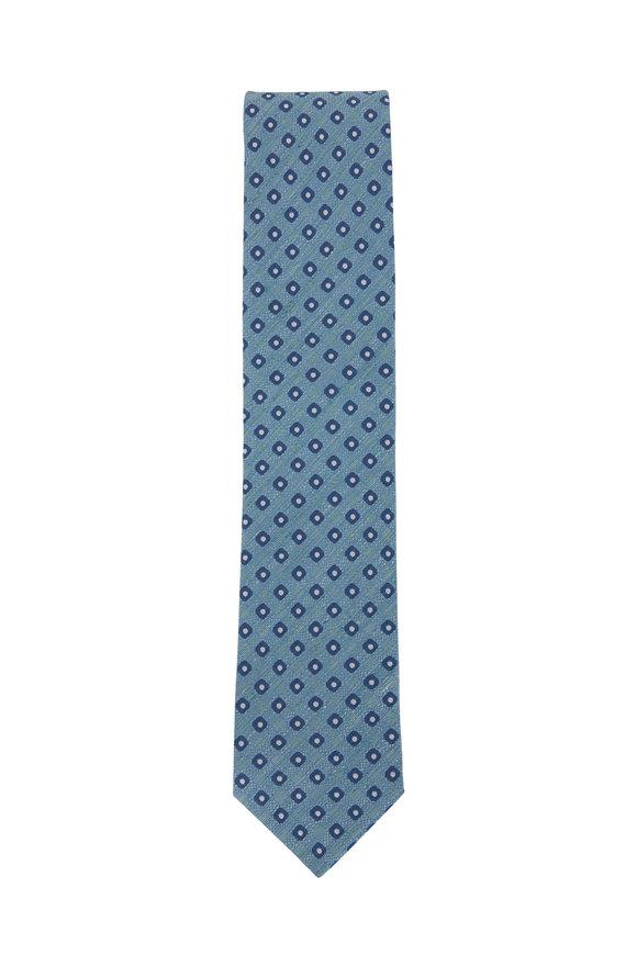 Eton Teal Floral Silk & Linen Necktie