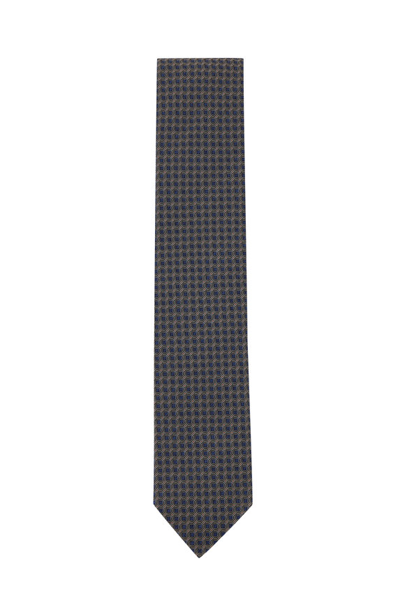 Eton Navy Blue Geometric Silk Necktie