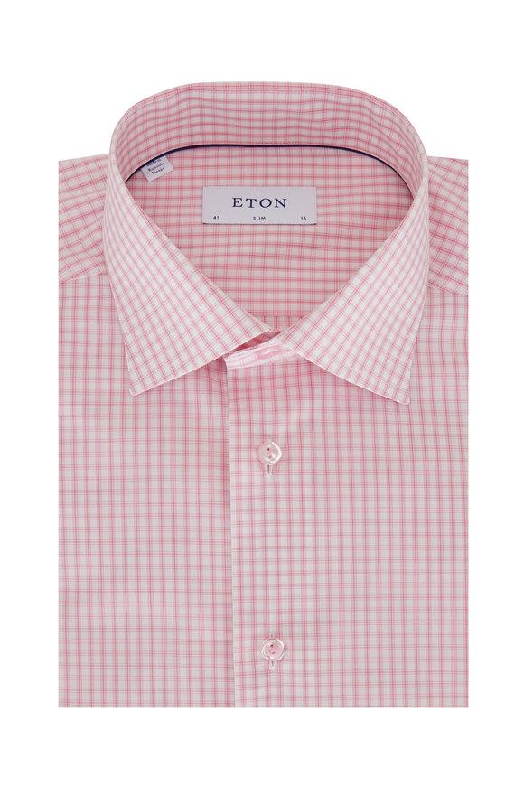 Eton Light Pink Check Slim Fit Dress Shirt