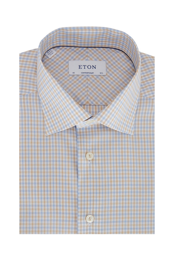 Eton Blue & Tan Check Contemporary Fit Dress Shirt