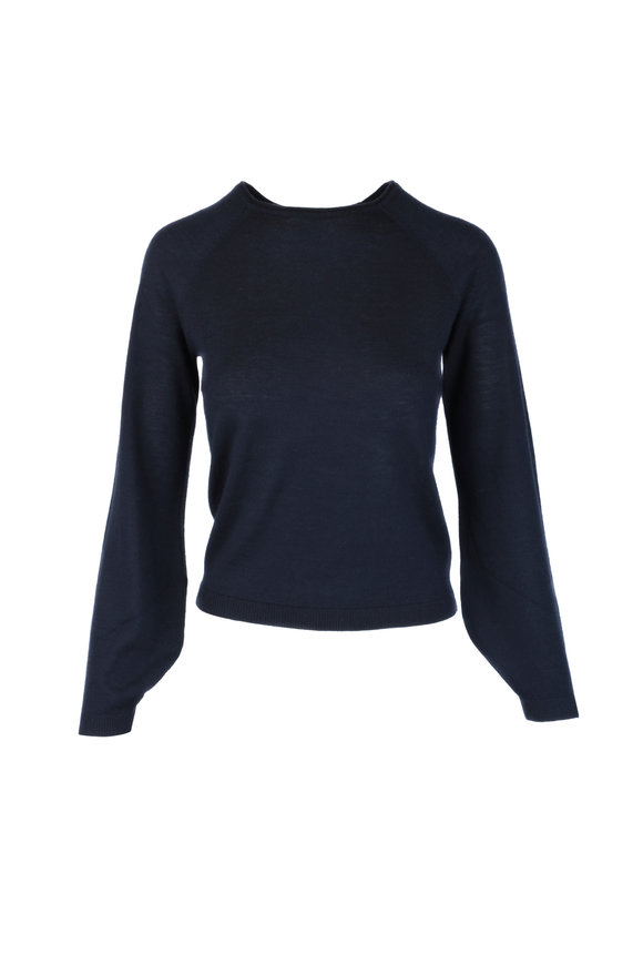 CO Collection Navy Blue Cashmere Peasant Sleeve Sweater