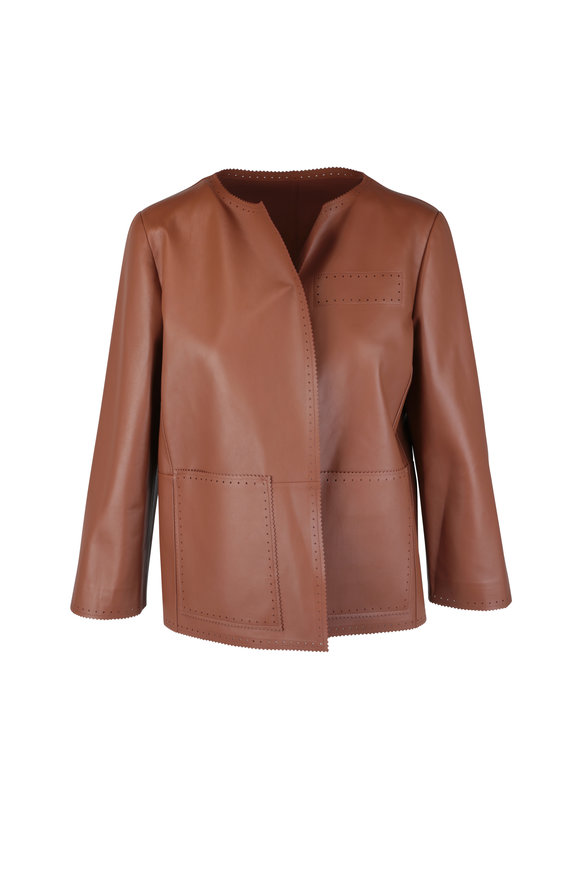 Kiton Cognac Lambskin Leather Jacket