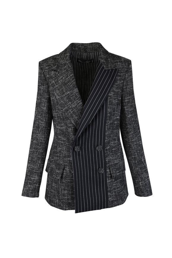 Oscar de la Renta Midnight Pinstripe & Melange Jacket