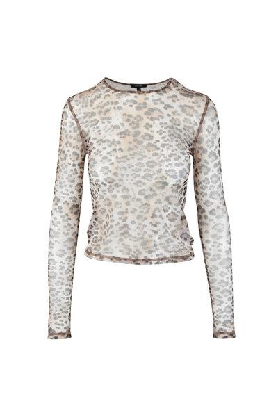R13 - Tan Leopard Print Mesh Top