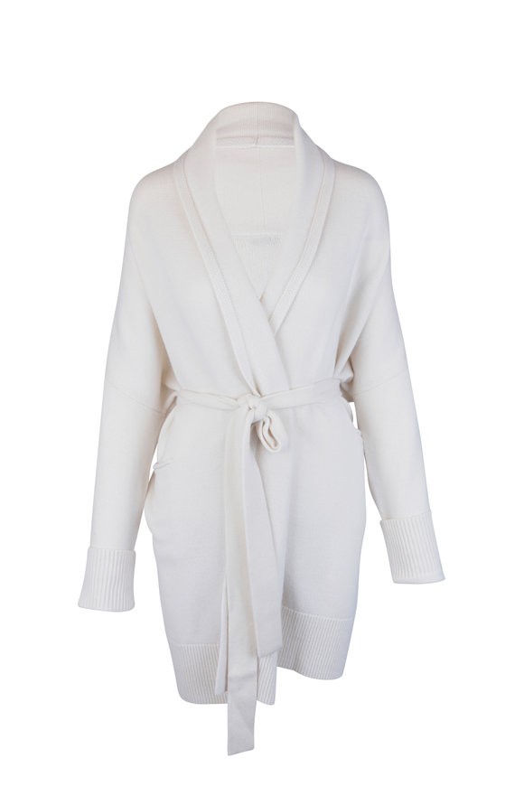CO Collection Ivory Wool & Cashmere Long Cardigan
