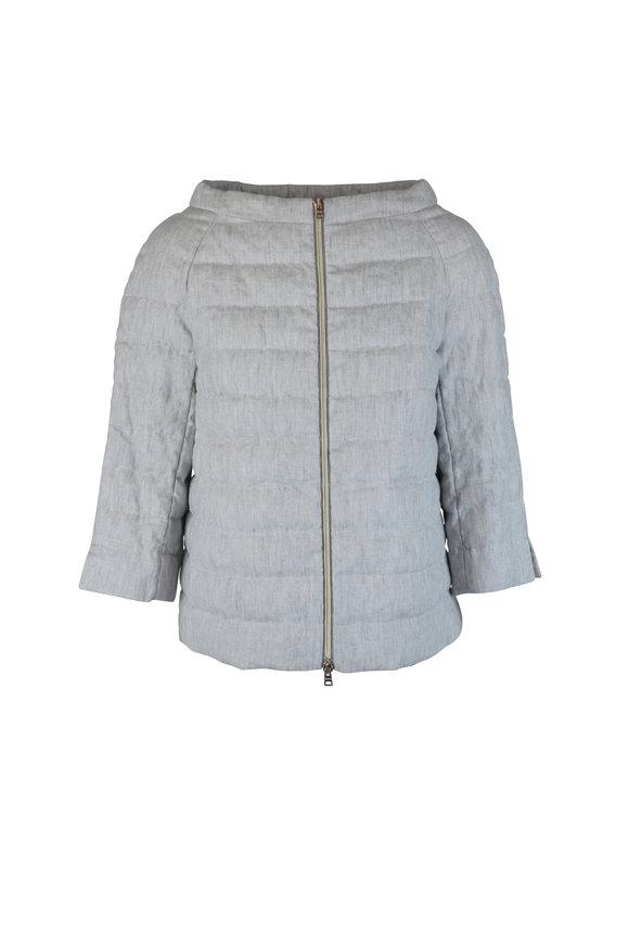 Herno Gray Linen Dolman Puffer Coat