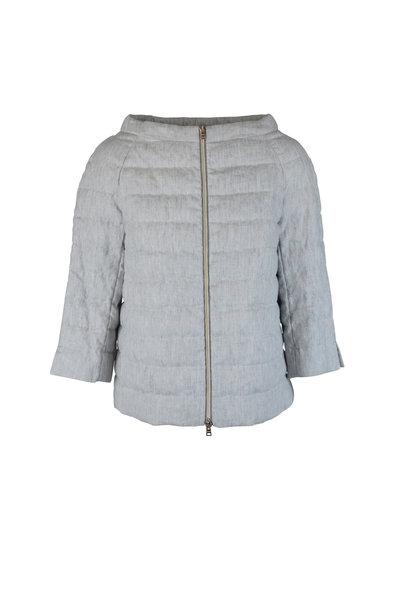 Herno - Gray Linen Dolman Puffer Coat