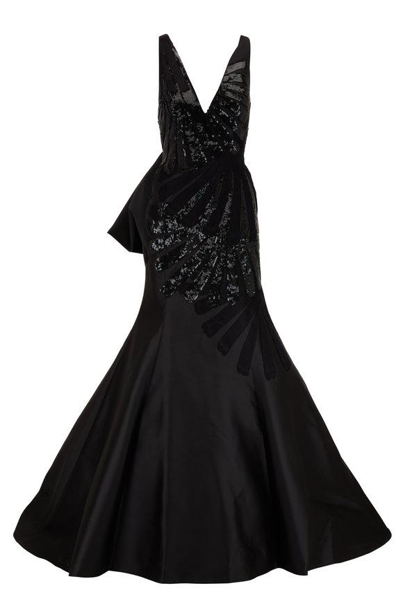 Carolina Herrera Black Embroidered Sleeveless Trumpet Gown