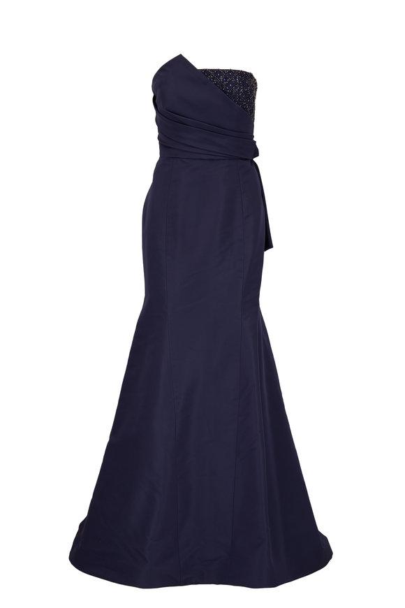 Carolina Herrera Navy Blue Embroidered Strapless Trumpet Gown