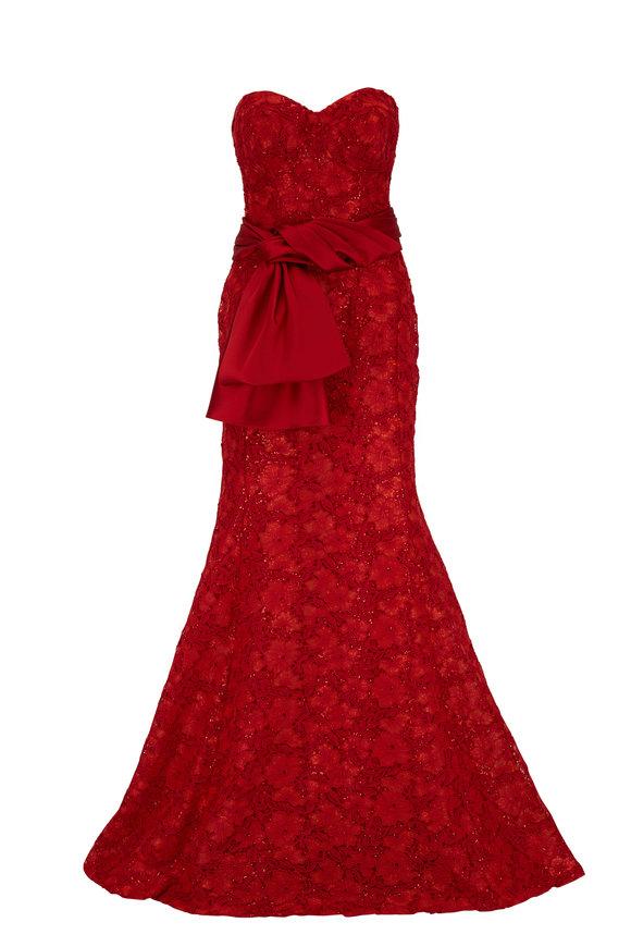 Carolina Herrera Chili Red Sequin Strapless Trumpet Gown