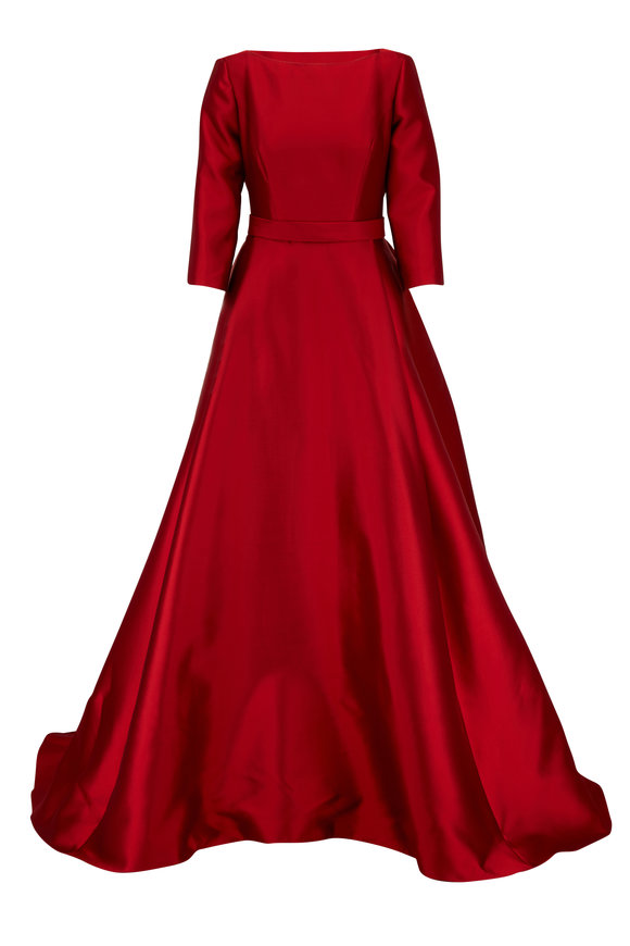 Carolina Herrera Dark Red Satin Three-Quarter Sleeve Gown
