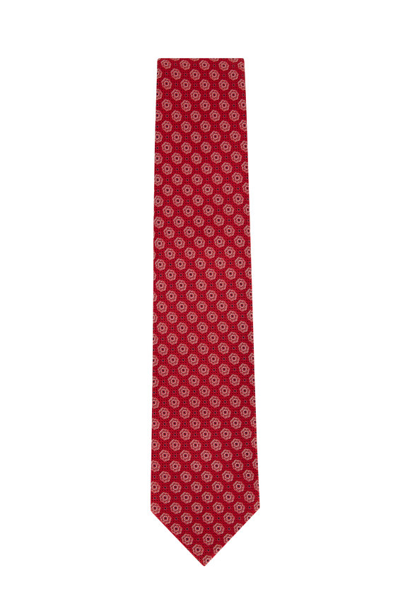 Eton Red & White Tile Print Silk Necktie