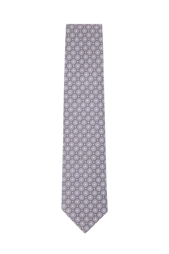 Eton Silver & White Tile Print Silk Necktie
