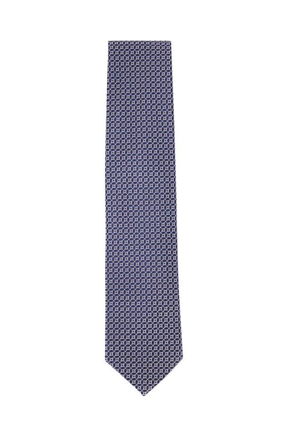 Eton Navy & Gray Geometric Print Silk Necktie