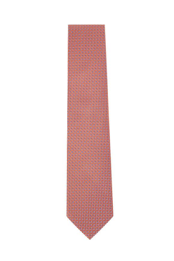 Eton Orange & Lavender Geometric Print Silk Necktie