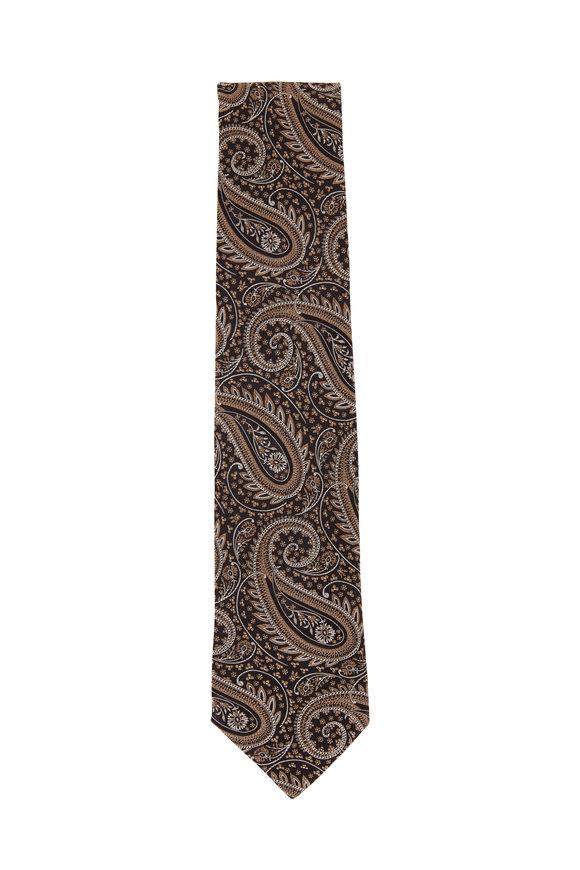 Eton Brown & Gold Paisley Silk Necktie
