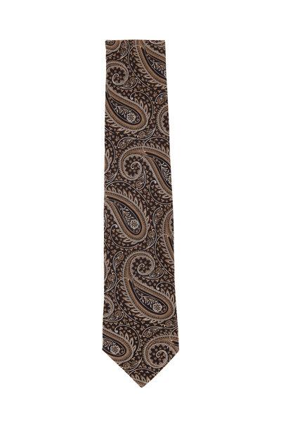 Eton - Brown & Gold Paisley Silk Necktie