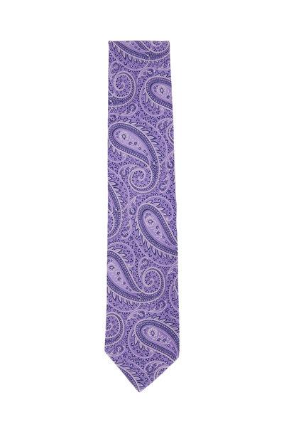 Eton - Lavender & Purple Paisley Silk Necktie