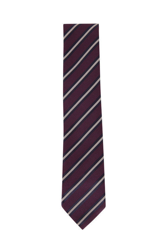 Ermenegildo Zegna Purple & White Stripe Textured Silk Necktie