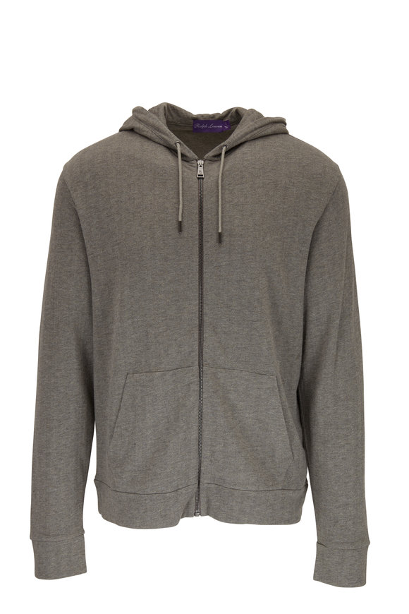 Ralph Lauren Light Heather Gray Front Zip Hoodie