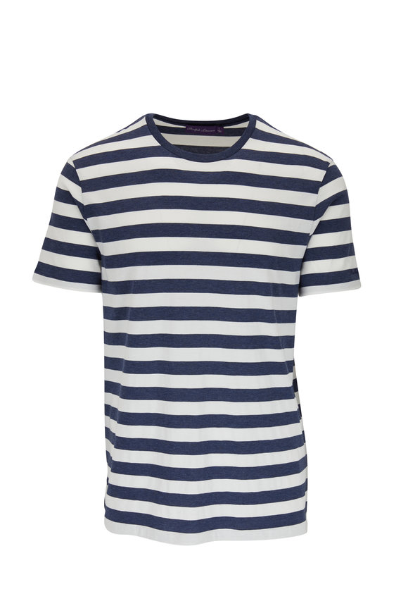 Ralph Lauren Blue & White Striped Crewneck T-Shirt