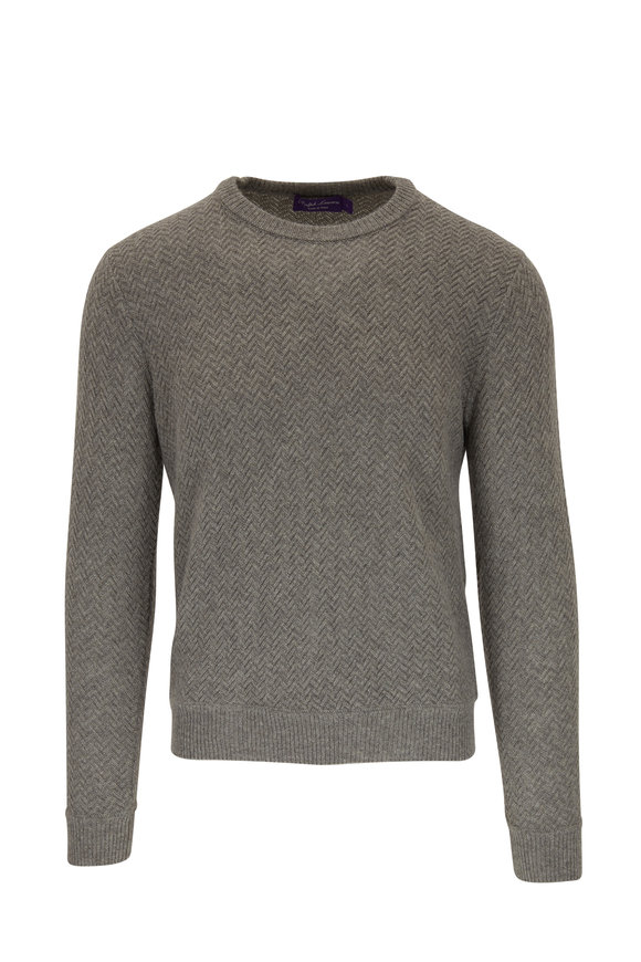 Ralph Lauren Light Gray Chevron Cashmere Pullover