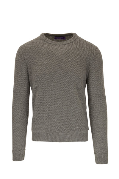 Ralph Lauren - Light Gray Chevron Cashmere Pullover