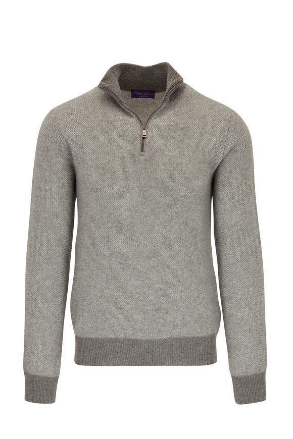 Ralph Lauren Light Gray Birdseye Cashmere Quarter-Zip Pullover