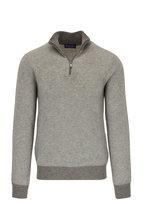 Ralph Lauren - Light Gray Birdseye Cashmere Quarter-Zip Pullover