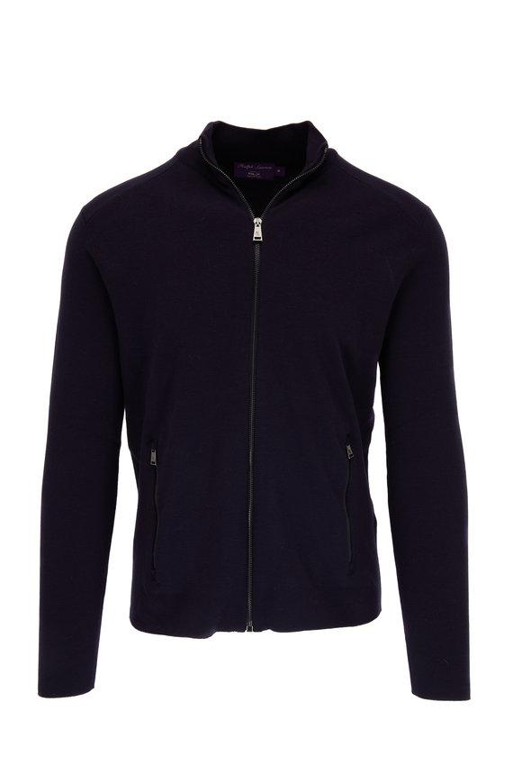 Ralph Lauren Navy Wool Front Zip Sweater