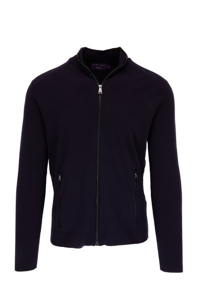 Ralph Lauren - Navy Wool Front Zip Sweater