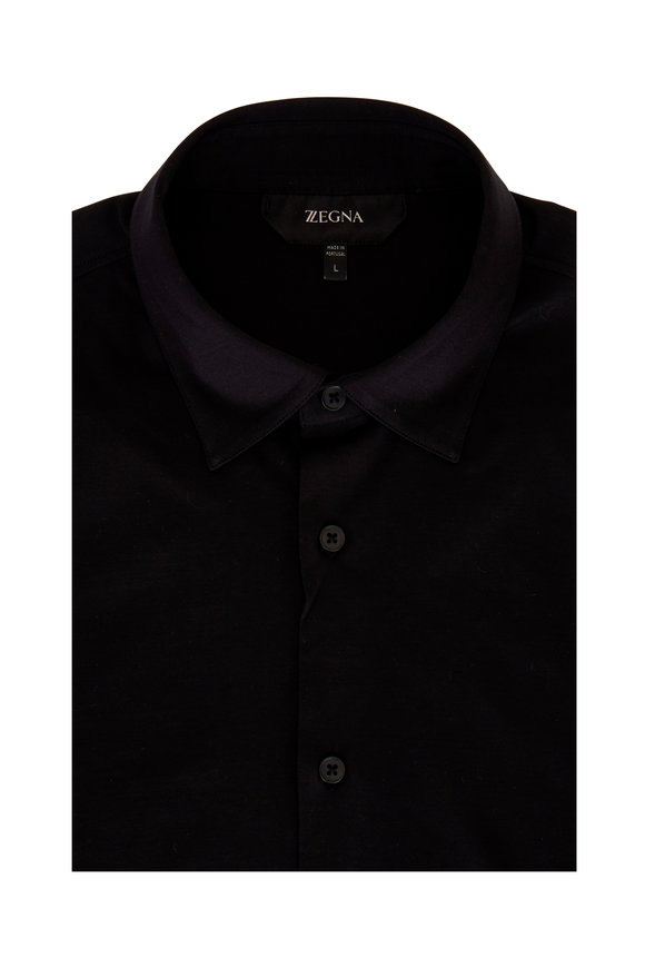 Z Zegna Black Cotton Knit Sport Shirt