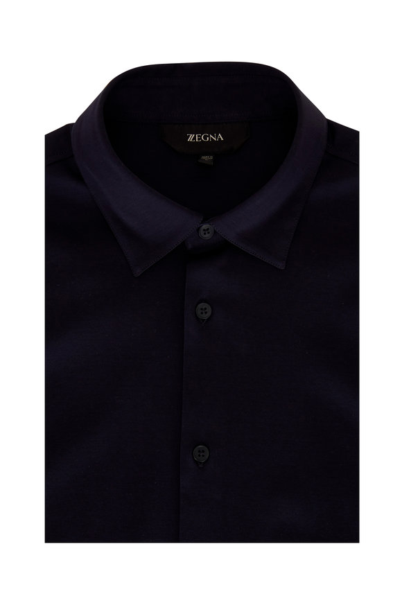 Z Zegna Navy Knit Sport Shirt